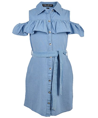 Belted Denim Shirt Dress (Chillipop Big Girls' Belted Cold Shoulder Shirt-Dress - Light Blue, 7-8)