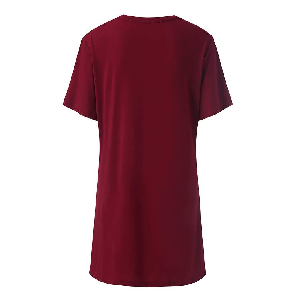 Kurzarm Bluse Camisole Tr/ägershirts Sommer Mittel Einfarbig Halsband Mit V-Ausschnitt Beil/äufig Minikleid Crop Vest Weste Oberteil Tops CixNy Damen T Shirts