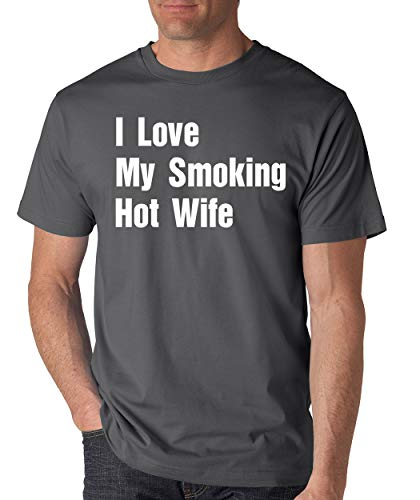 SignatureTshirts Men's I Love My Smoking hot Wife Funny Valentine's Day t-Shirt Cute Couple Husband Wife Gift Charcoal