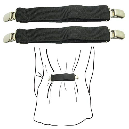 (Pack of 2)Fashion Fit Clip - Keep your Clothes fitted to your body - Shirts Dress Pants Clip Garment Waistband Extender - Adjustable Elastic shrinkage ()