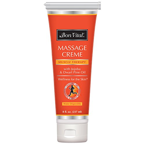 - Bon Vital' Muscle Therapy Massage Crème, Professional Massage Cream with Dwarf Pine Oil & Essential Oils for Relaxation & Sore Muscle Relief, Deep Tissue & Sports Massage Techniques, 8 Ounce Tube