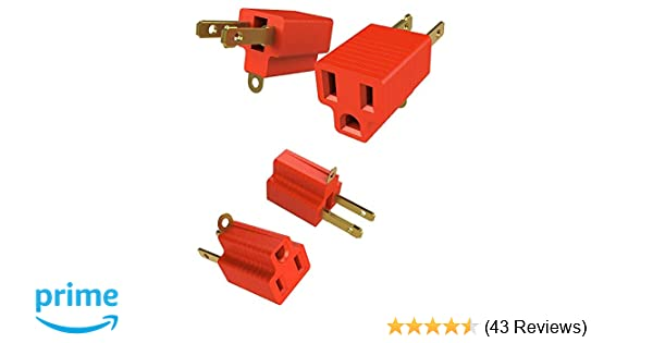 2 Prong To 3 Prongs Outlet Adapter Two Pack Converter Kit