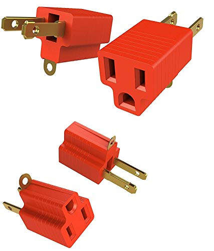 (2 Prong to 3 Prongs Outlet Adapter Two Pack Converter Kit - Heavy Duty Grounded Wall Tap Extender Ideal for a Kitchen Plug, Electrical Cord, Household, Workshops, Industrial, Machinery, and Appliances)