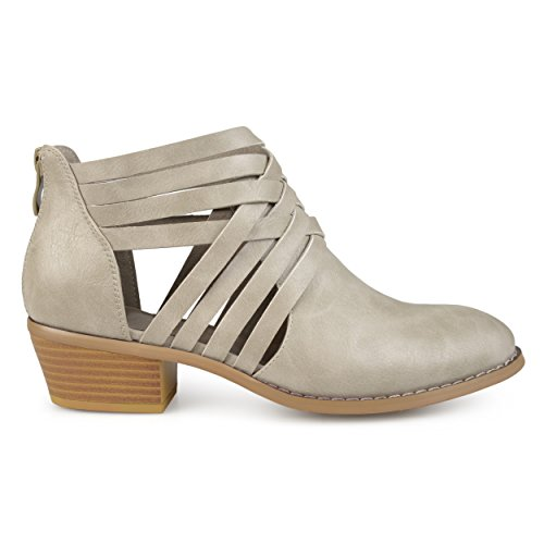 - Brinley Co. Womens Criss Cross Stacked Wood Heel Faux Leather Booties Grey, 9 Regular US