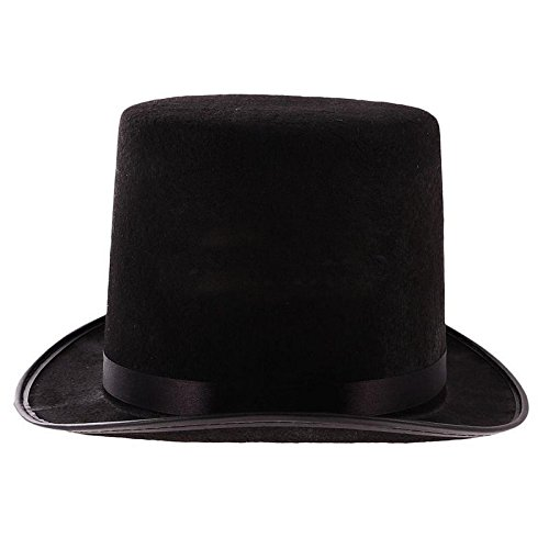[MAZIMARK--Tall Black Top Hat Steampunk Magician Costume 1PC New] (Star Wars Wheelchair Costume)