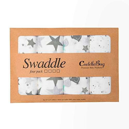 Muslin Baby Swaddle Blankets ''Starry Nights'' 4 Pack- CuddleBug 47 x 47 inch Large Muslin Swaddles - Soft Cotton Blankets - Baby Shower Gift - Perfect for Nursery Sets - Unisex by CuddleBug