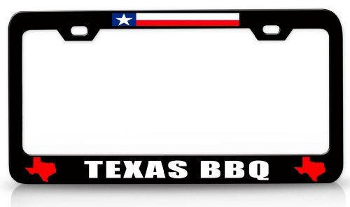 - Texas BBQ Texas Style Steel Metal License Plate Frame Bl # 21