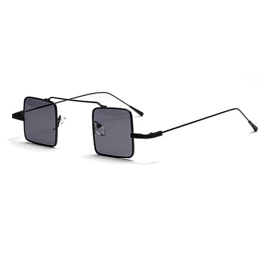 cebf6a6a5ec Small Rectangle Sunglasses Men Vintage Metal Frame Retro Sun Glasses for  Women (full black)