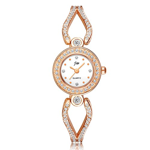 Women's Quartz Gold-toned Watch with Small Round Case, Luxury Wrist Watches for Ladies girls (Watch Dial Stainless White)