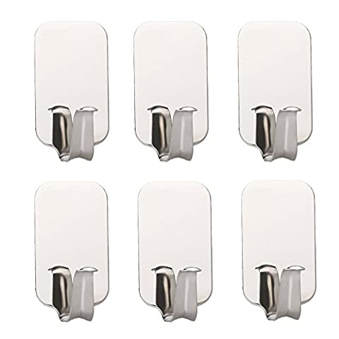 Daixers Stainless Steel Powerful Adhesive Hooks,Easy To Install - Strong & Durable 6-Hook (Max Load 4.4 (In Door Bike Stand)