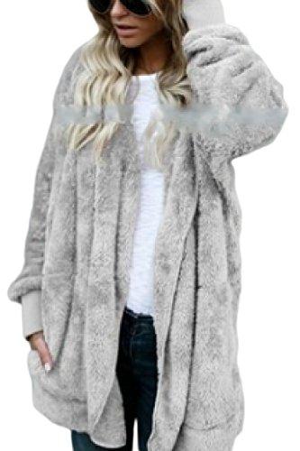 Cremallera Talla Grande Polar Outwear Bolsillo Gray Chaqueta con yulinge Mujeres con 0WqYOnXw