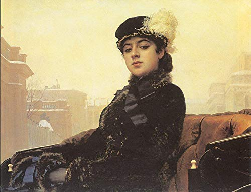 ($50-$4000 Hand Painted Art Paintings by College Teachers - Portrait of a Woman Democratic Ivan Kramskoi Oil Painting Reproduction for Wall Decor Canvas Old Famous -Size12)