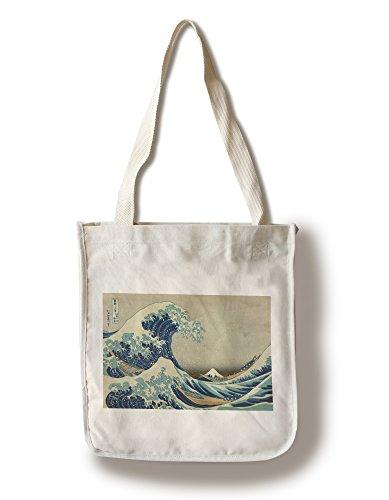 - The Great Wave Off Kanagawa (Artist: Katsushika Hokusai) c. 1826 - Masterpiece Classic (100% Cotton Tote Bag - Reusable)
