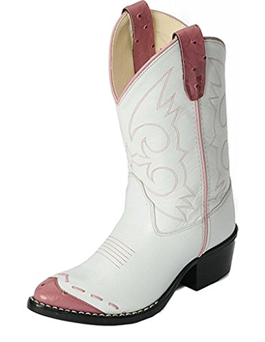 Old West Girls' Ostrich Print Wingtip Cowgirl Boot Medium Toe White 1.5 D(M) (Pink And White Cowboy Boots)