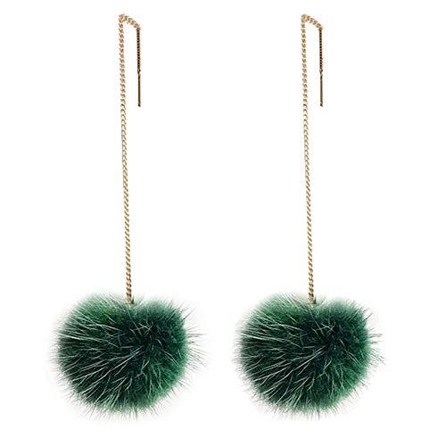 Women Fashion Faux Fur Round Ball Dangle Long Chain Hook Earrings Gift