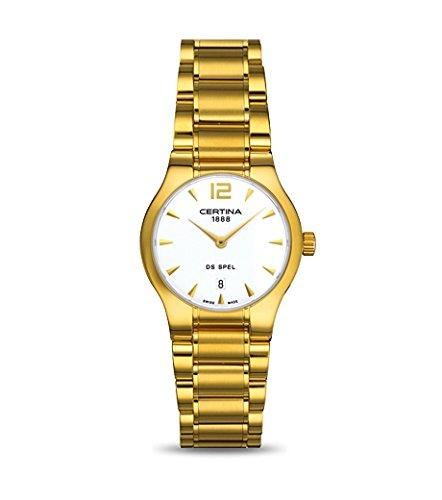 Certina - Reloj Analógico de Cuarzo para Mujer, correa de Acero inoxidable color Dorado