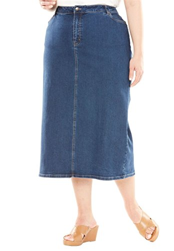 Jessica London Women's Plus Size True Fit Denim Midi Skirt Medium Stonewash,12 by Jessica London