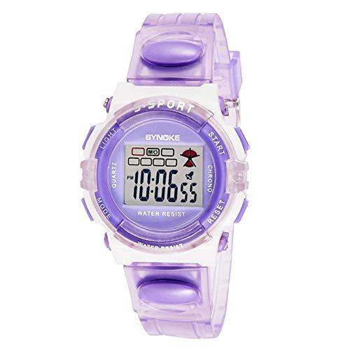 Kanpola Decoración Infantil Relojes,SYNOKE Rubber Digital Led Wristwatch Watch for Girls Kid Children Purple: Amazon.es: Relojes
