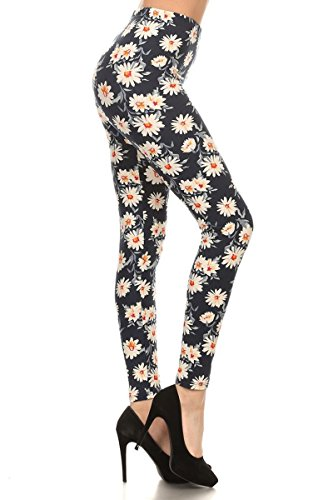 (R592-PLUS Fancy Daisies Print Fashion Leggings)
