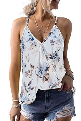 CILKOO Womens Amazon Fashion Ladies Casual Summer Spaghetti Strap Crisscross Flower Print Cami Tank Top with Lace Trim Blouse Shirts White US4-6 Small