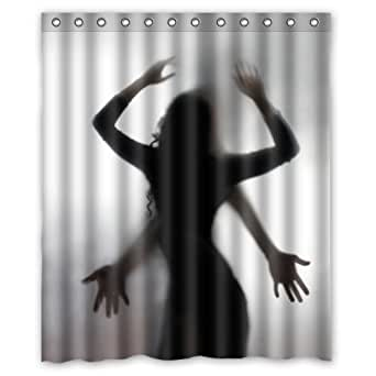 """60""""(w) x 72""""(h) Funny Sexy Woman and Men Sex Silhouette Shadow Pattern Bathroom Shower Curtain Shower Rings Included, 100% Polyester"""