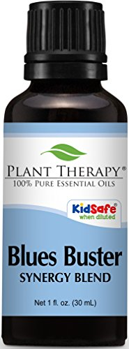 Blend Blue (Plant Therapy Blues Buster Synergy Essential Oil Blend. 100% Pure, Undiluted, Therapeutic Grade. Blend of: Tangerine, Geranium and Grapefruit. 30 mL (1 Ounce).)