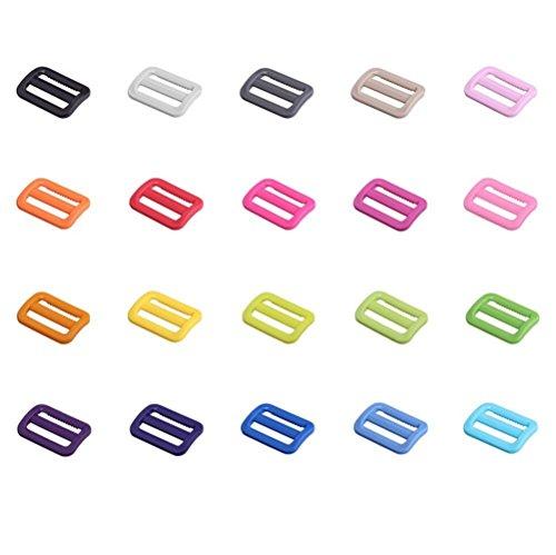 FinalZ 50 PCS of 1 Plastic Tri-glide Button Slides Buckles Designed for Camping Bag Belt Suitcase (Random Color)