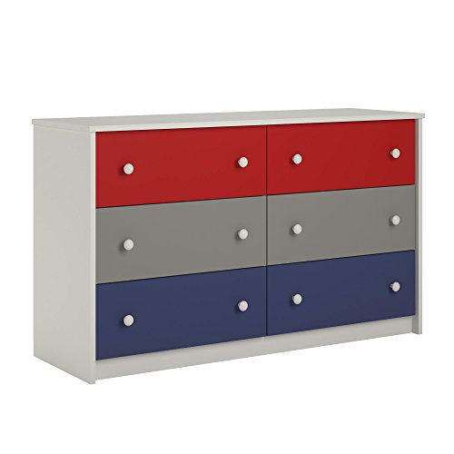 Boys Furniture - Cosco Kids Furniture Kaleidoscope 6 Drawer Dresser, Classic/White Stipple