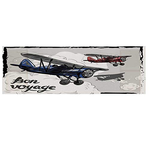 Going Away Party Decorations Microwave Oven Cover,Retro Airplane Poster Inspired Bon Voyage Lets Travel Fly Cover for Kitchen,36
