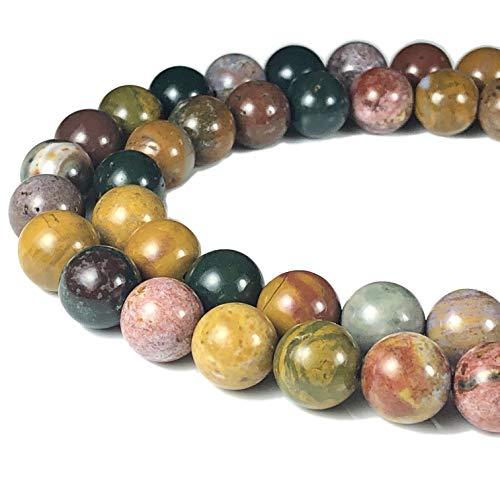 Crystal Ocean Jasper ([ABCgems] Madagascan Kabamby Ocean Jasper 10mm Smooth Round Beads for Beading & Jewelry Making)