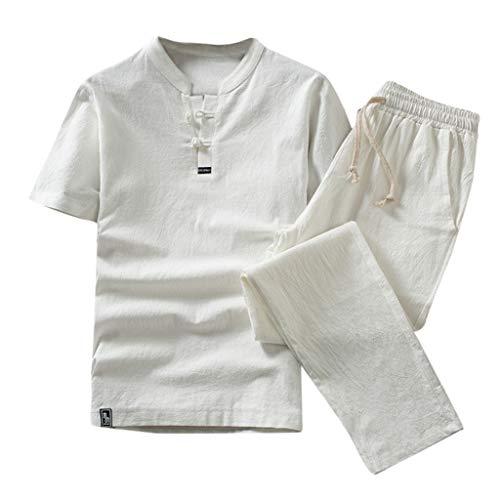 Men Cotton Linen Suit Casual T-Shirt Long Pants Plus Size Summer Yoga Set Unisex(XL,White) ()