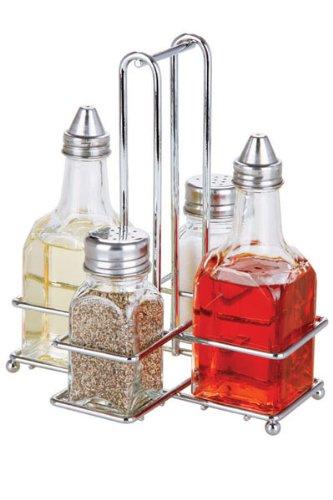 5 Piece Cruet Set With Rack, Oil, Vinegar, Salt & Pepper (Cruet Rack)