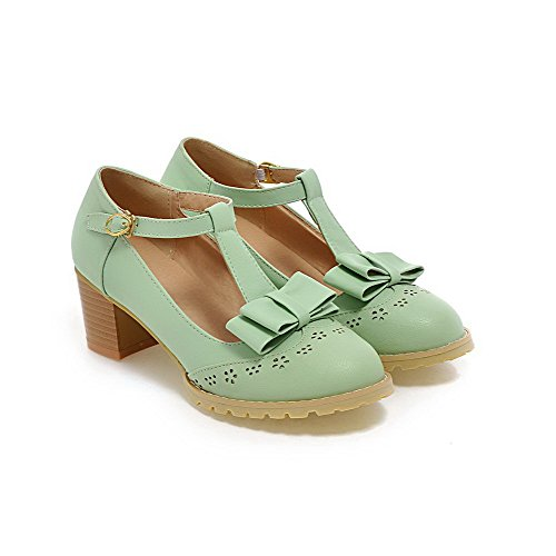 Cyan Closed Heels Pumps Toe Buckle Solid Round PU Women's Shoes Kitten WeiPoot CAqXPw