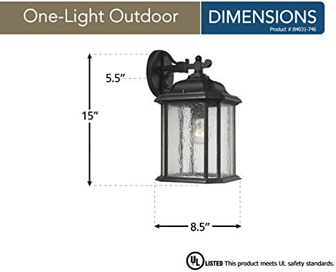 Sea Gull Lighting 84031-746 Kent One-Light Outdoor Wall Lantern with Clear Seeded Glass Panels, Oxford Bronze Finish