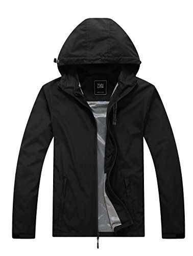 ZSHOW Men's Camping Running Jacket Packable Windbreaker Quick Dry Mountain Jacket(Black,X-Large)