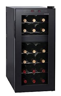 HOMEIMAGE 18 Bottle Two-Temp Zones SoftTouch Control Silent Wine Cooler - HI-18TS