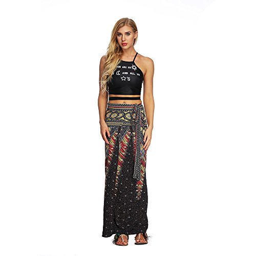 Zolimx Rock Damen Sommer, National Wind Rock, Frauen Casual Sommer Lose Yoga Hosen Baggy Boho Aladdin Harem Rock Schwarz