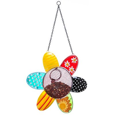 Dots and Blossoms Inspirational Flower Bird Feeder Hopper Dot