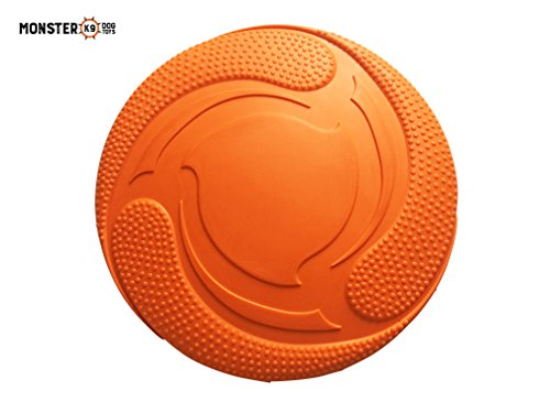 Monster K9 Dog Toys Indestructible Dog Frisbee - Lifetime Replacement Guarantee - 100% Natural Non-toxic Rubber - High Grade, Durable Rubber Dog Frisbee - Best Rubber Dog Frisbee