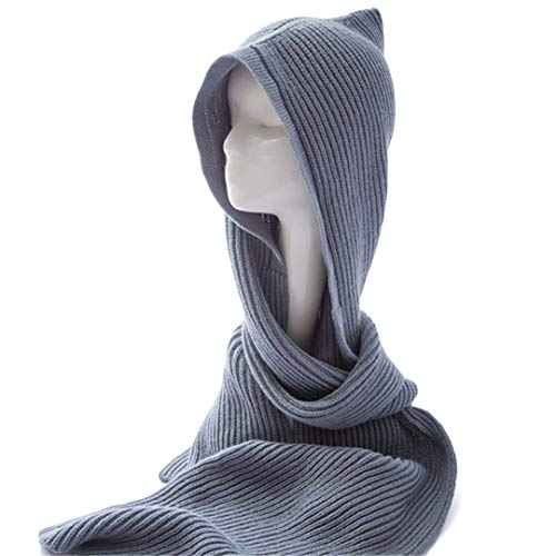 Women Wool Hooded Poncho With Hat Winter Warm Scarves Wraps Knitted Hood Scarf Solid ()