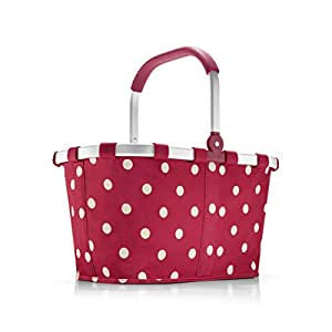 reisenthel Carrybag Fabric Picnic Tote, Sturdy Lightweight Basket for Shopping and Storage, Ruby Dots
