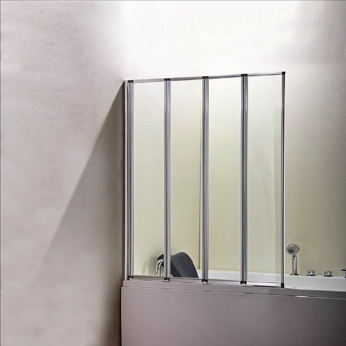 800x1400mm 4 Fold Folding Chrome Shower Bath Screen Glass Door Panel(FF80-4) by bLux by Aica bathrooms