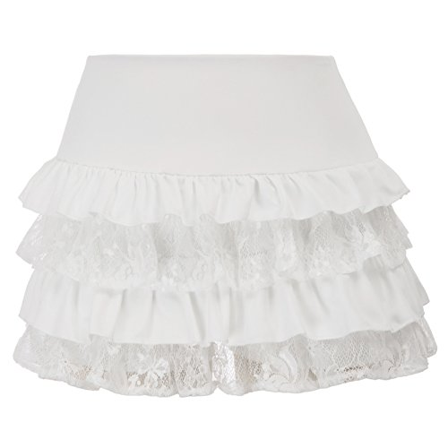 Lace Ruffled Mini Skirt - SCARLET DARKNESS Steampunk Victorian Punk Cincher Lace up Ruffled Mini Skirt SL4-2 L White