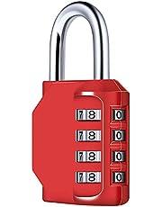 Diyife 4-cijferig cijferslot, combinatieslot, hangslot, weerbestendig metaal & geplateerd staal combinatieslot voor school, gym & sport, Hasp kast & opslag rood