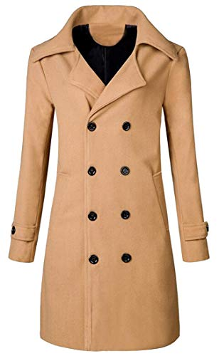 MK988 Mens Double Breasted Fall & Winter Regular Fit Mid Length Solid Color Wool Blend Trench Coat Jacket Outerwear