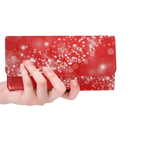 Unique Custom Red Winter Lights Holiday Abstract Women Trifold Wallet Long Purse Credit Card Holder Case Handbag