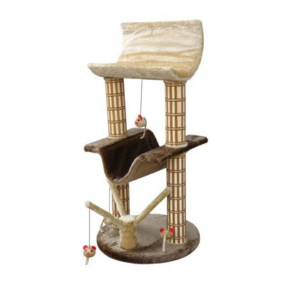 Cat-Life Multi-Level Lounger with Play Tree and Bamboo Posts, Brown/Beige – 20 x 20 x 42 Inches (WxDxH), My Pet Supplies