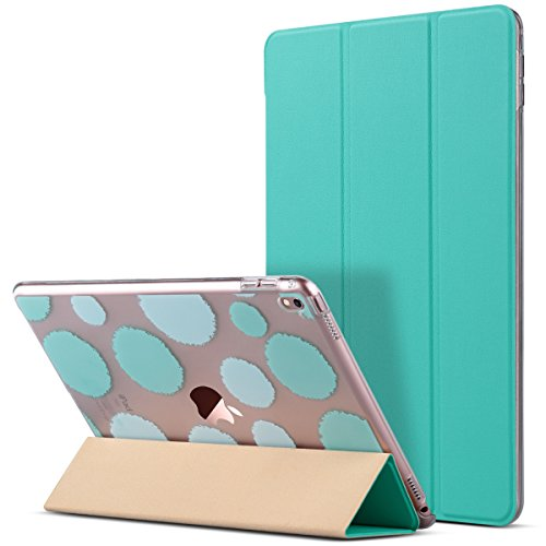 ULAK iPad Pro 9.7 Case, Slim Lightweight Bumper Smart Case Stand for Apple iPad Pro 9.7 Inch 2016 PU Leather Colorful Clear Back Cover,Not Fit iPad 9.7 2017 (Mint Green)
