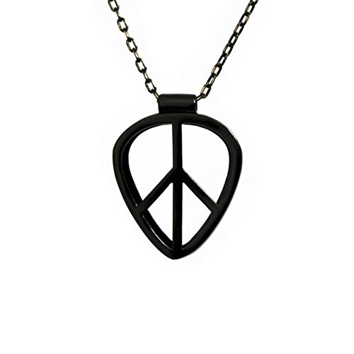 [PICKRING] Guitar Pick Holder Pendant Necklace Jazz Size (Peace/Black) (Rock Girls Picks Guitar)