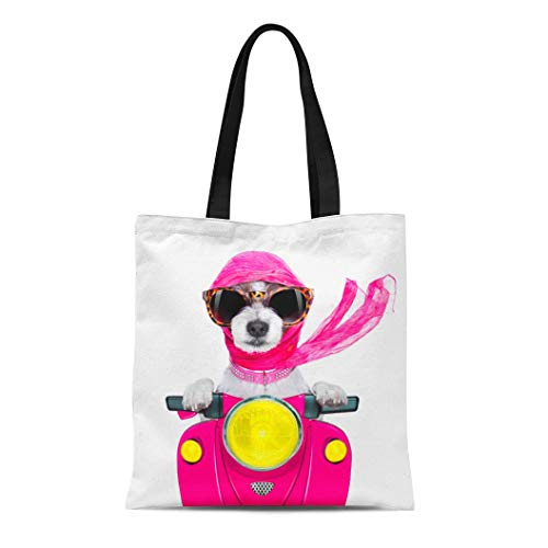 Semtomn Canvas Tote Bag Moped Motorcycle Diva Lady Fancy Dog Driving Motorbike Sunglasses Durable Reusable Shopping Shoulder Grocery Bag